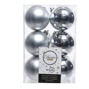 Caixa De 12 Bolas Prateadas Decorativas Para Árvore De Natal