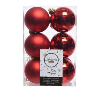 Caixa De 12 Bolas Vermelhas Decorativas Para Árvore De Natal