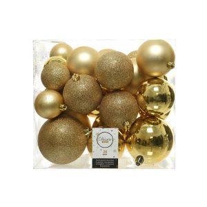 Caixa De 26 Bolas Douradas De Vários Tamanhos. Inclui 2X10Cm