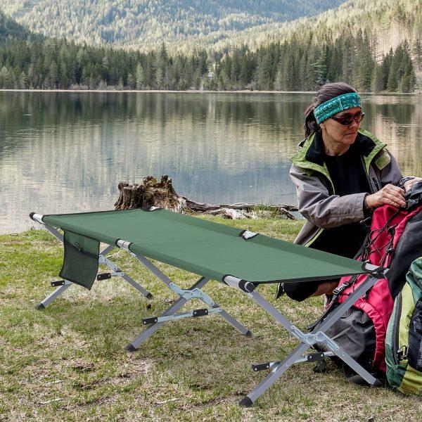 Cama de acampamento dobrável Bolsa de Transporte 193x66x42cm Verde