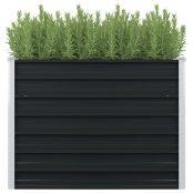 Canteiro jardim elevado 100x100x77 cm aço galvanizado antracite