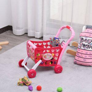 Carrinho de compras para crianças acima de 3 anos 38 músicas e luz rosa