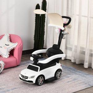 Carrinho para crianças acima de 1 ano Design 3 em 1 com buzina e capuz 84x40x83 cor branco