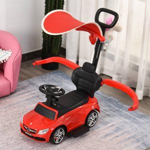 Carrinho para crianças acima de 1 ano Design 3 em 1 com buzina e capuz 84x40x83 cor vermelho