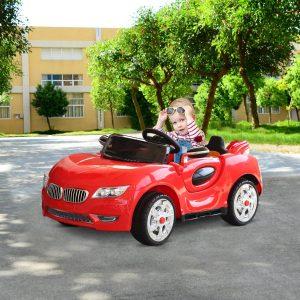 Carro Elétrico para Crianças acima de 3 Anos com Controle Remoto Com Música e Luzes Carga 25 kg 128 × 80 × 53 cm Vermelho