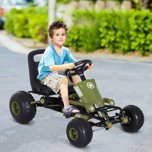 Carro de Pedais Desportivo com Assento Ajustável Embraiagem e Travão para Crianças acima de 3 Anos Carga 35kg 99x65x56cm Quadro de Aço Preto e Verde