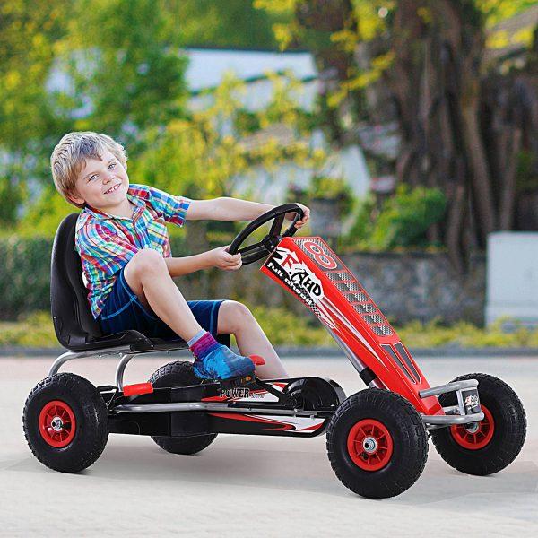 Carro de pedais com embreagem e freio ajustáveis para crianças acima de 3 anos carga 50 kg 121x65x76cm