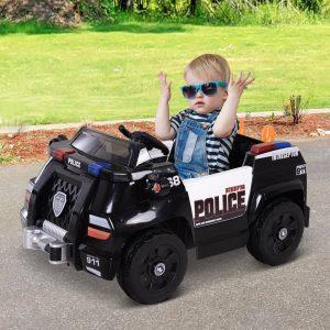 Carro de polícia elétrico para crianças a partir de 3 anos de idade com controle remoto 30kg 106.5x66x52.6cm
