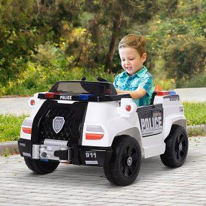 Carro de polícia elétrico para crianças acima de 3 anos com controle remoto 30kg 106.5x66x52.6cm
