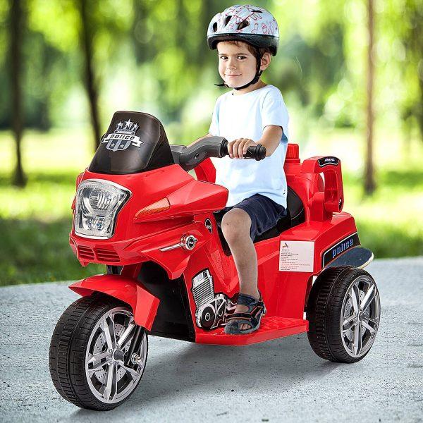 Carro de triciclo elétrico para crianças de 3 anos ou mais com luzes e música 87x41x54cm carga 35kg