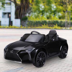 Carro elétrico para crianças acima de 3 anos de controle remoto e manual com música 106x63x44 cm Preto