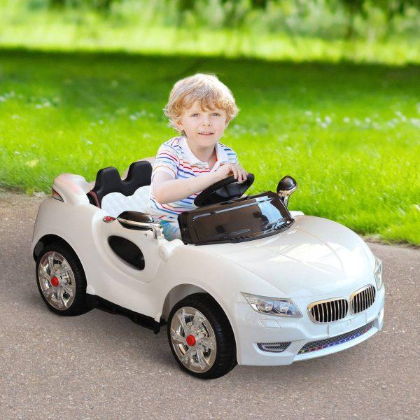 Carro elétrico para crianças de a partir de 3 anos carga 25kg 128 × 80 × 53cm cor branco