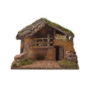 Casa Para Presépio Com Led E Musgo 30X17X21Cm. Cabo Transpar