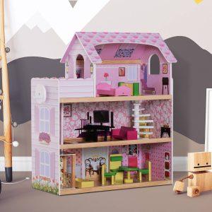 Casa de Bonecas com 13 peças Móveis Mobiliário Casita de Bonecas de Brincar Madeira 3 Pisos 60x30x71.5cm