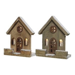 Casinha De Madeira Natural Com Led 12X5X15Cm 4 Leds. Funcion