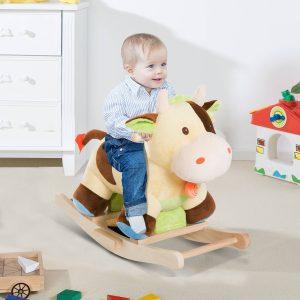 Cavalinho de Baloiço de Peluche Cavalinho de Baloiço Madeira Brinquedo de Baloiço para Crianças +3 Anos 60x34x46 cm Forma Vaca
