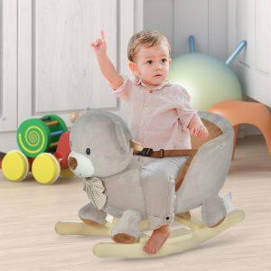 Cavalo de baloiço com forma de urso para bebê acima de 18 meses com som 60x33x50