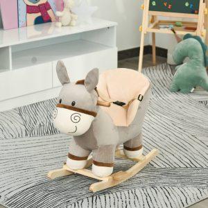 Cavalo de baloiço de burro para bebê acima de 18 meses com cinto 61x34x58 cinza
