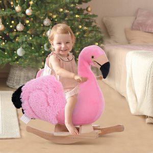 Cavalo de baloiço modelo flamingo com cinto de segurança de pelúcia para crianças acima de 18 meses 60x33x52cm