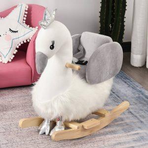 Cavalo de baloiço para bebê acima de 18 meses em forma de cisne com som 60x33x59 branco e cinza