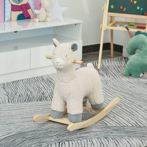 Cavalo de baloiço para bebê acima de 36 meses em forma de ovelha com som 68x29x58 cm Creme