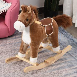 Cavalo de baloiço para crianças acima de 36 meses Com boca e cauda móveis Música 65x32