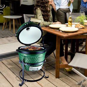 Churrasqueira de mesa com carvão e tampa e indicador de temperatura 40.5x35x55cm