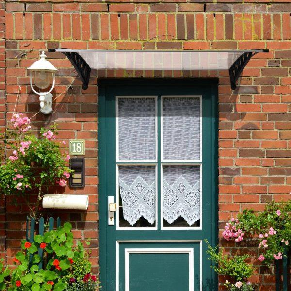 Cobertura para portas Janelas Toldo Terraços de policarbonato de 5mm Transparente Proteção contra chuva e sol 90x120x25cm