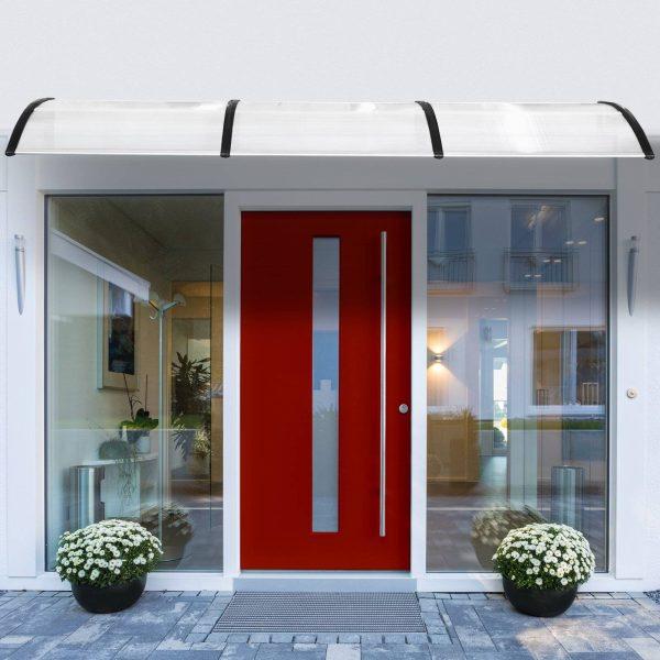 Cobertura telhado para portas janelas toldo Terraços de policarbonato de 5mm Transparente Proteção contra chuva e sol 90x295x25cm