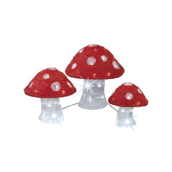 Conjunto De 3 Figuras Cogumelos Acrílico Exterior 72L. Distâ