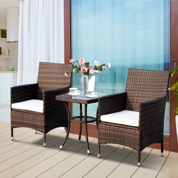 Conjunto de 1 Mesa 2 Cadeiras Rattan para Jardím com almofada Estrutura Metal Cor Castanho