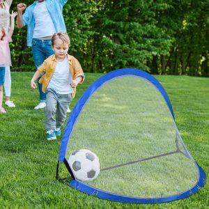 Conjunto de 2 Gol de Futebol POP-UP Portátil Dobrável para Crianças 120x84x85 cm Azul