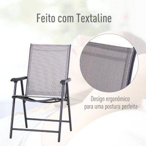 Conjunto de 2 cadeiras dobráveis para exterior Com braços Cadeiras para varandas Jardim Terraço 58x64x94 cm Cinzento Carga 100kg