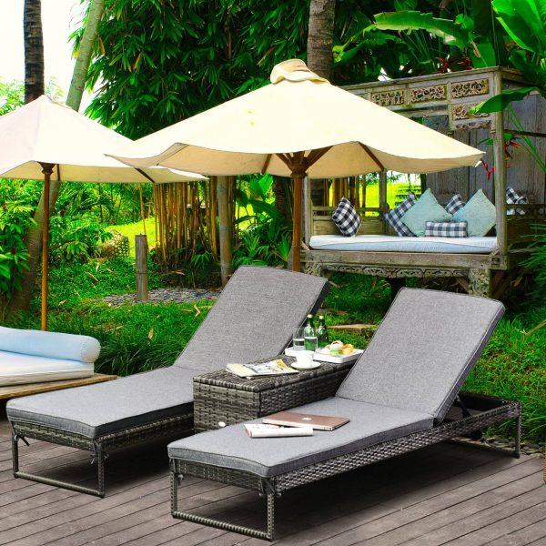 Conjunto de 2 espreguiçadeiras de jardim com almofadas acolchoadas de vime com mesa lateral para piscina ou terraço Carga 160kg 195x60x86 cm de vime Armação de aço cinza