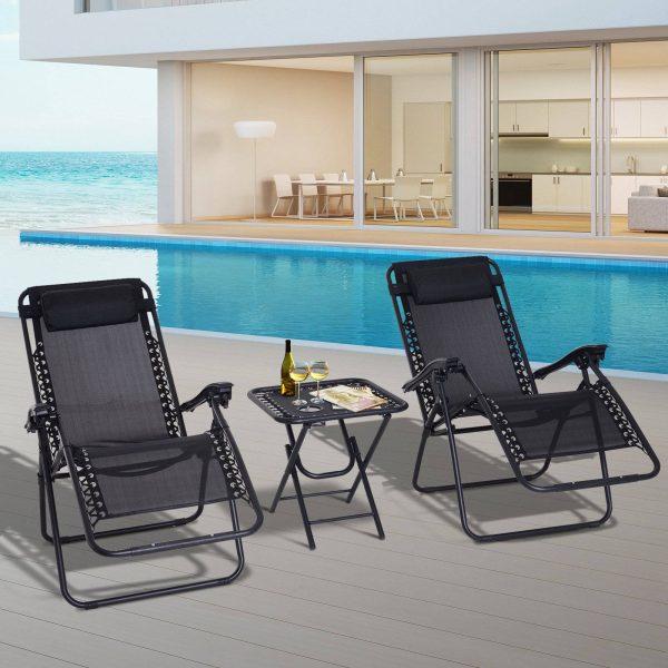Conjunto de 2 espreguiçadeiras e 1 mesa dobrável Cadeira de gravidade zero Espreguiçadeiras ao ar livre relaxantes Encosto reclinável Textilene para Jardim Pátio preto