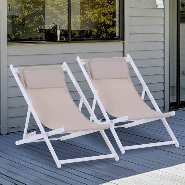 Conjunto de 2 espreguiçadeiras reclináveis e dobráveis 58x96.5x91.5 cm Branco