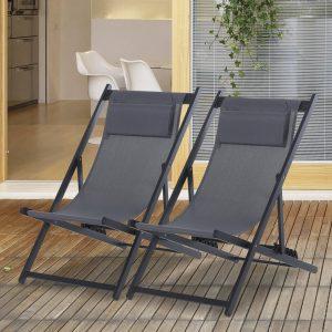 Conjunto de 2 espreguiçadeiras reclináveis e dobráveis 58x96.5x91.5cm Cinzento