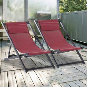 Conjunto de 2 espreguiçadeiras reclináveis e dobráveis 58x96.5x91.5cm Vermelho Vinho