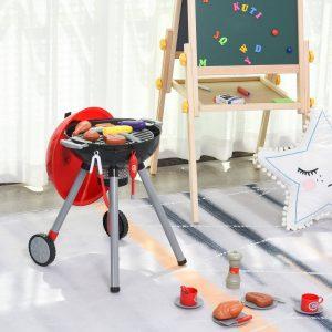 Conjunto de Churrasqueira para Crianças Acima de 3 Anos 39 Peças Luz e Som 34.5x37x56 Vermelho