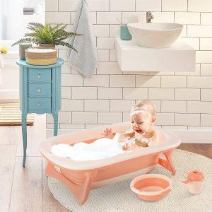 Conjunto de banho 3 em 1 para bebê 0-3 anos dobravél banheira pia taça de xampu