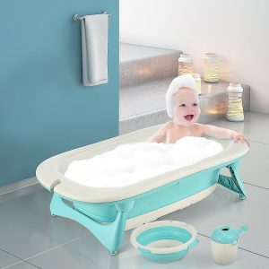 Conjunto de banho dobrável 3 em 1 para bebês de 0 a 3 anos Banheira pia taça de xampu