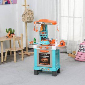 Conjunto de brinquedos de cozinha para crianças acima de 3 anos Luzes e sons educacionais azul