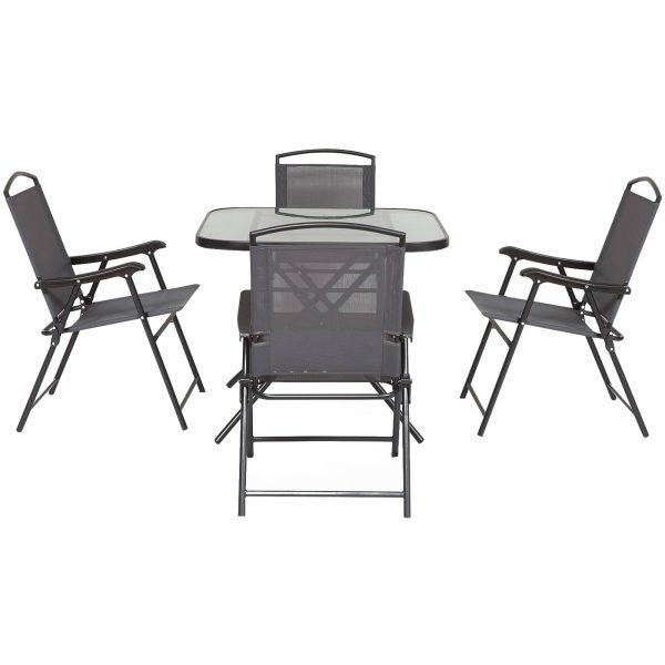 Conjunto de jantar de jardim de 5 peças Cadeiras e mesas dobráveis