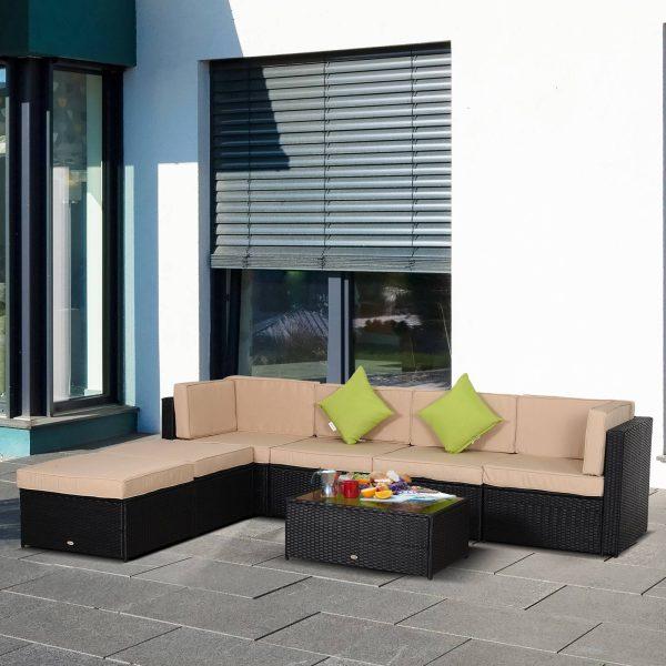 Conjunto de móveis de jardim de vime 7 peças mesa Sofás Tamboretes com almofadas