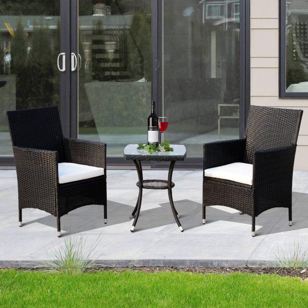 Conjunto de móveis de vime ao ar livre 1 Tabela 2 Cadeiras Estrutura Metálica Preta