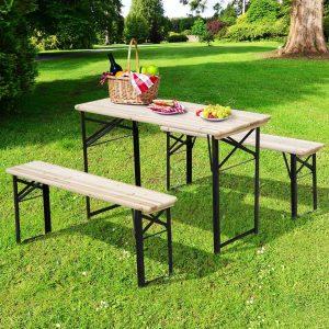 Conjunto de mesa e bancos dobráveis para piquenique 120x50x76cm