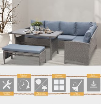 Conjunto-de-sofá-Mesa-e-banco-de-vime-para-jardim-Cinza-2