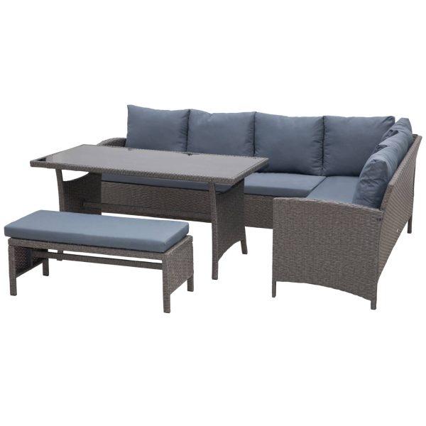 Conjunto de sofá Mesa e banco de vime para jardim Cinza