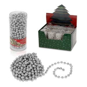 Corrente De Bolas Decorativa De Natal 750Cm Cor Prateado