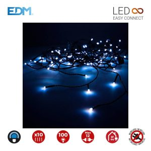 Cortina Easy-Connect Azul 10 Tiras 100 Leds Ip44 30V Total 1